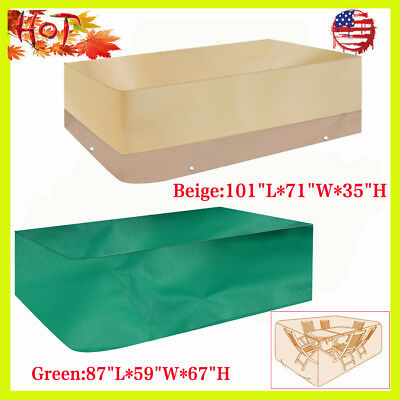 Deluxe Heavy Duty Waterproof Furniture Cover Rectangle Patio Table Chairs US MAX