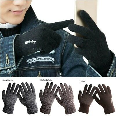 Men Women Winter Warm Fleece Lined Thermal Knitted Gloves Touch Screen Gloves