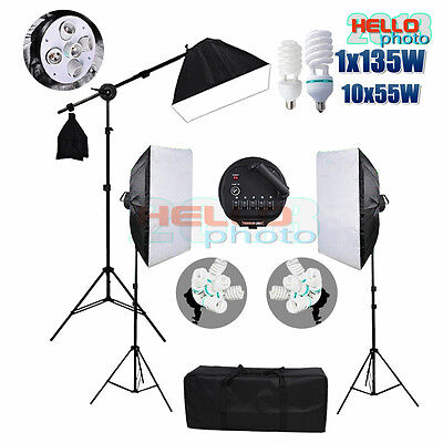 Photography Studio Softbox Lighting Continuous Soft Box Boom Stand Light Kit New