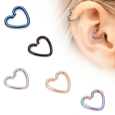 4x Surgical Steel Heart Helix Cartilage Ring Hoop Tragus Daith Ring Hoop Ea S4B2