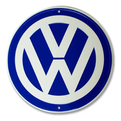 VW Logo Garage Sign Royal Blue White Metal Interior Accessory Safety