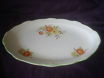 Swinnertons Staffordshire Tray Plate Floral Design Green Trim Tabbed Handles