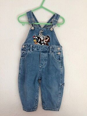 Vintage Kids Looney Toons 90s Classic Overalls Unisex Dungarees 18 M