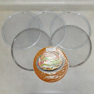 """LOT of 5 COMMERCIAL 12"""" ROUND PERFORATED PERSONAL-PIZZA SIZE SCREENS"""