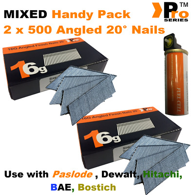 Mixed 16g ANGLED Nails, 2 x 500 pack + 1 x Fuel Cell for Dewalt,Paslode ,Hitachi