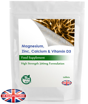 Calcium, Magnesium, Zinc & Vitamin D3 - 90 Essential Tablets for Bones and Teeth