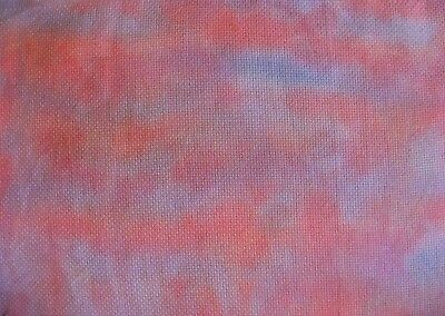 """Pink Sky, hand dyed 14 count aida fabric, 11.9 x 9"""""""