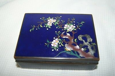 Beautiful Chinese Cobalt Blue Cloisonne Trinket Box