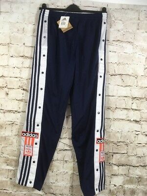 Vintage 96 Adidas Poppers Tracksuit Bottoms Rare Track Pants Mens Medium D5 Blue