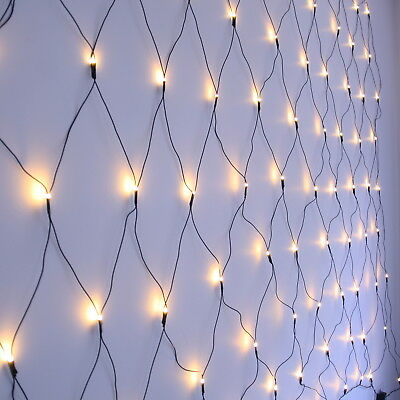 LED Net Light, Warm White, Green or Transparent wire. Christmas Lights by Qbis
