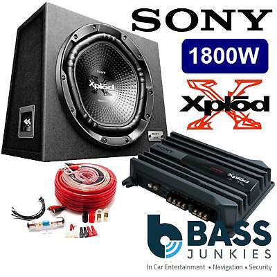 """SONY 12"""" 1800 Watts Sub Box with 2 Channel Amplifier & Amp Kit Bass Package"""