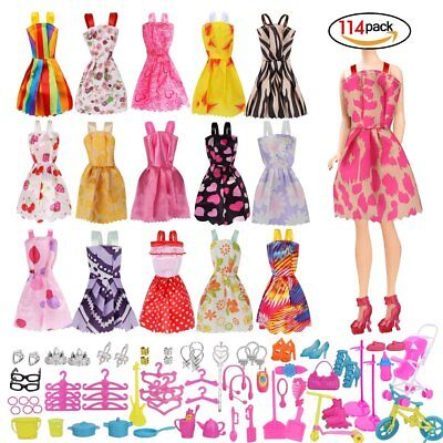 114 Pcs Barbie Doll Clothes Party Gown Outfits And Accessories, Party Dresses