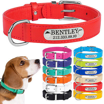 Dog Collar Personalized Leather Nameplate Optional Puppy Small Medium Large Soft