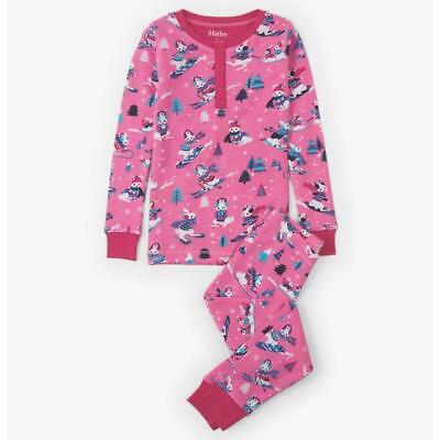 Girls Hatley Winter Sports Bunnies Waffle xmas Pyjamas Organic Cotton RRP £26