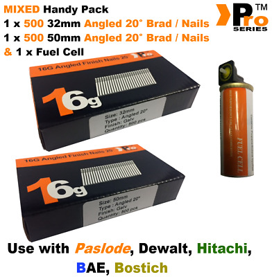 32mm + 50mm Mixed 16g ANGLED Nails, 2 x 500 pack + 1 x Fuel Cell for Paslode