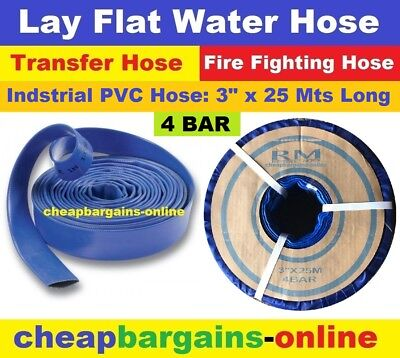 "LAY FLAT WATER FIRE HOSE REEL 3"" x 25Mt INDUSTRIAL PVC TRANSFER IRRIGATION HOSE"