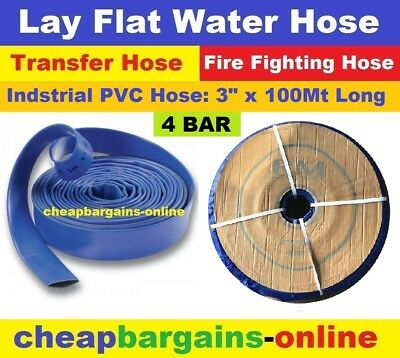"LAY FLAT WATER FIRE HOSE REEL 3"" x 100Mt INDUSTRIAL PVC TRANSFER IRRIGATION HOSE"