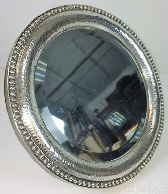 Table Mirror.  Silver  Chiseled Martelé. With Punches. Spain. Circa 1950
