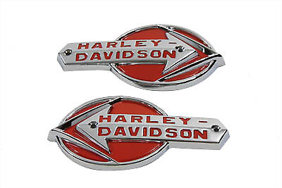 Emblem Set with Red Lettering for Harley 1959-1960 Model Panhead Gas Tanks