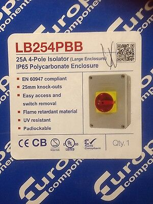 Europa Components 25 ampLB254PBB 4 POLE ISOLATOR IP 65