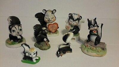 Vintage Lot of SKUNK Figurines Porcelain Bone China
