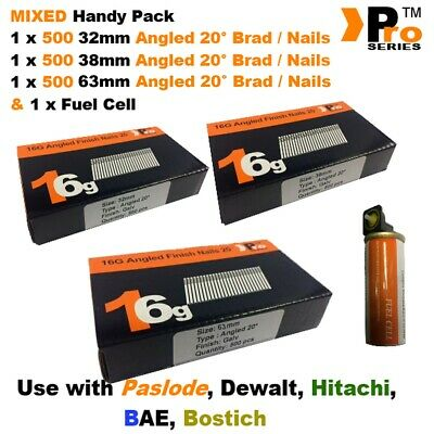32mm + 38mm + 63mm  16g ANGLED Nails, 3 x 500 pack + 1 x Fuel Cell for Paslode
