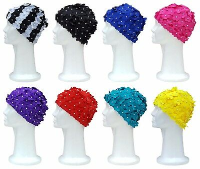 CHEX Polyester Elasticated Swimming Hat Flower Petal With Single Pearl Effect
