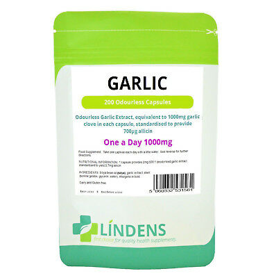 Garlic 1000mg Odourless high strength 200 soft gel oil capsules Lindens