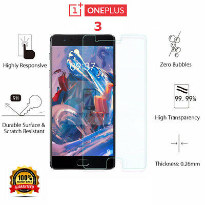 100% Real Tempered Glass Screen Protector for OnePlus 3 - Crystal Clear - New