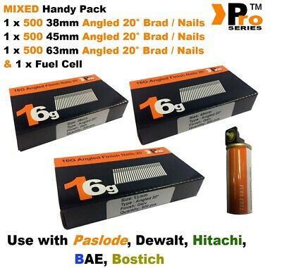 38mm + 45mm + 64mm  16g ANGLED Nails, 3 x 500 pack + 1 x Fuel Cell for Paslode