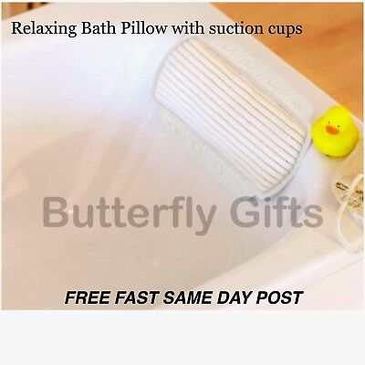Luxury Memory Foam Bath Pillow Soothe Relax Headrest Suction Cups High Quality