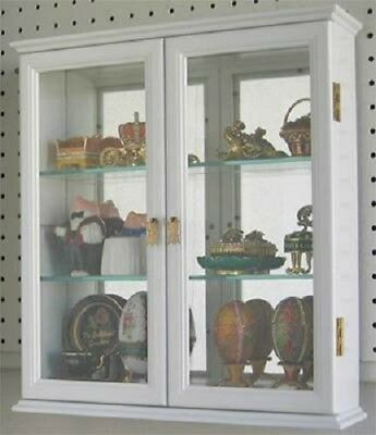 Small Wall Mounted Curio Cabinet Display Case With Glass Door Cupboard  Storage