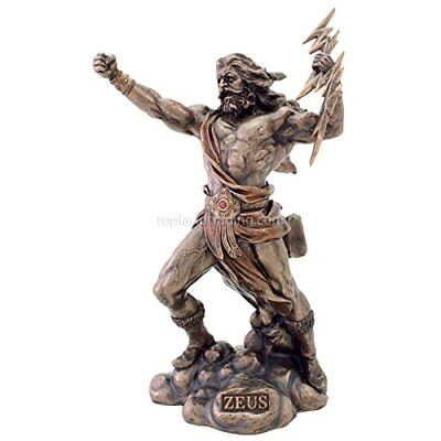"Zeus Statue King of the Gods Greek Mythology Statues Mythical Stone Age 11"" Inch"