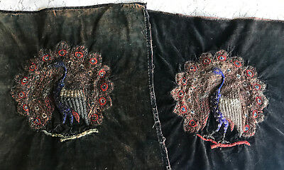 Pair Antique Metallic Embroidered Pillow Tops Peacock Velvet India or Turkish