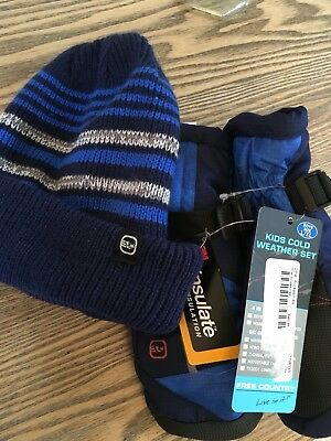 Free Country Thinsulate New Boy's Ski Beanie and Waterproof Mittens Sz L/XL