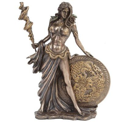 Bronze Greek Goddess Statues Lord Frigga Figurine w Staff Round Shield Mythology