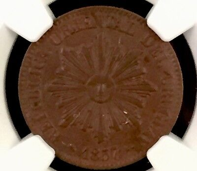 1857D Uruguay 5 Centesimos Ngc Ms63 Brown