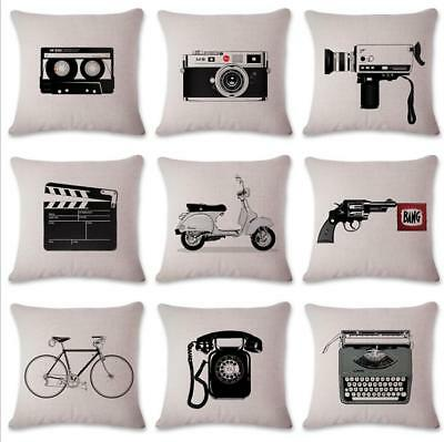 18'' VINTAGE  Cotton Linen Cushion Cover Throw Pillow Case Home