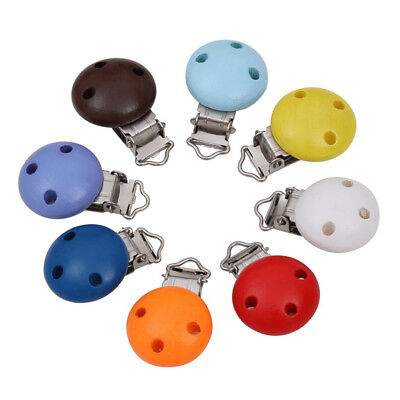 10pcs Pacifier Clips Round Wooden Dummy Clips Colorful Infant Baby Soother