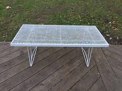 Vintage Mid Century Homecrest Iron Patio Coffee Cocktail Table Mesh Top