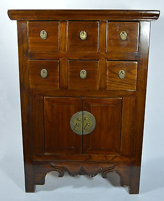 "Antique Asian Chinese 24""H  Elm Wood Apothecary Cabinet Drawers Home Decoration"