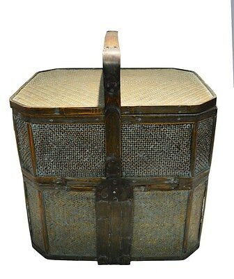 """Vintage 25"""" Asian Chinese Rattan Lunch Basket Rustic Oriental Home Decoration"""