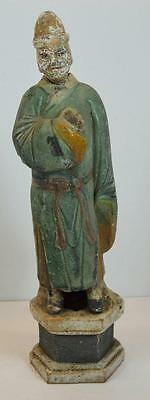 """Antiquity 14"""" Asian China Old Terracotta Statue Pigment Paint Court Attendant"""