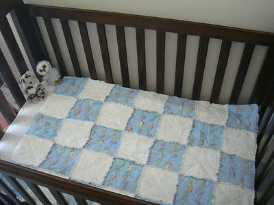 Baby quilt blue flannelette for baby / cot / crib / playmat 100% cotton all new