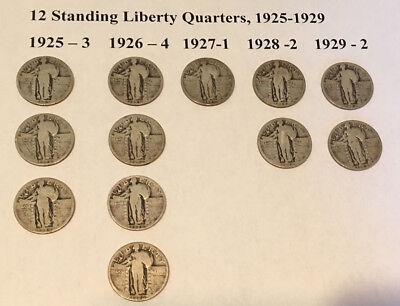 12 Standing Liberty Silver Quarters