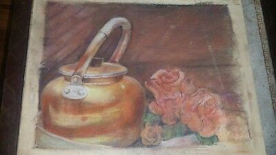 Original Pastel Drawing Painting Still Life Copper Kettle & Flowers