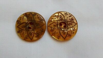 Antique Victorian Carved MOP Abalone Shell Buttons Matching Pair Sewing Lot