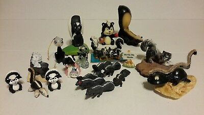 Vintage Lot of 22 Miniture SKUNK Candles Glass Plastic Ceramic Shell Figurines