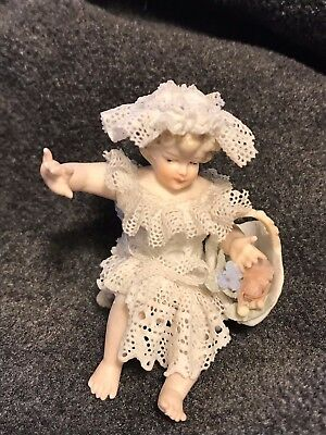 Antique Dresden Lace German Porcelain Sitting Baby Figurine W/basket, Free Ship