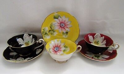 Made In Occupied Japan 1945-52 Tea Cups And Saucers Excellent Condition 3 Sets
